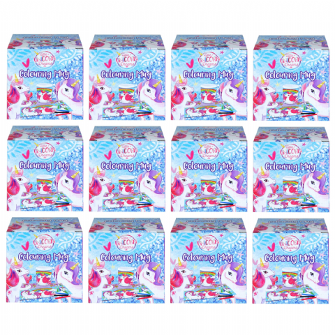 12 x Unicorn Colouring Mugs - Colour Your Own Arts & Crafts - Wholesale Bulk Buy